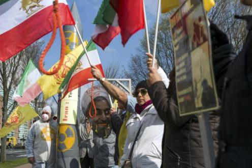 People protest against executions and human rights violations in Iran on a square near the Nuclear Security Summit in The Hague